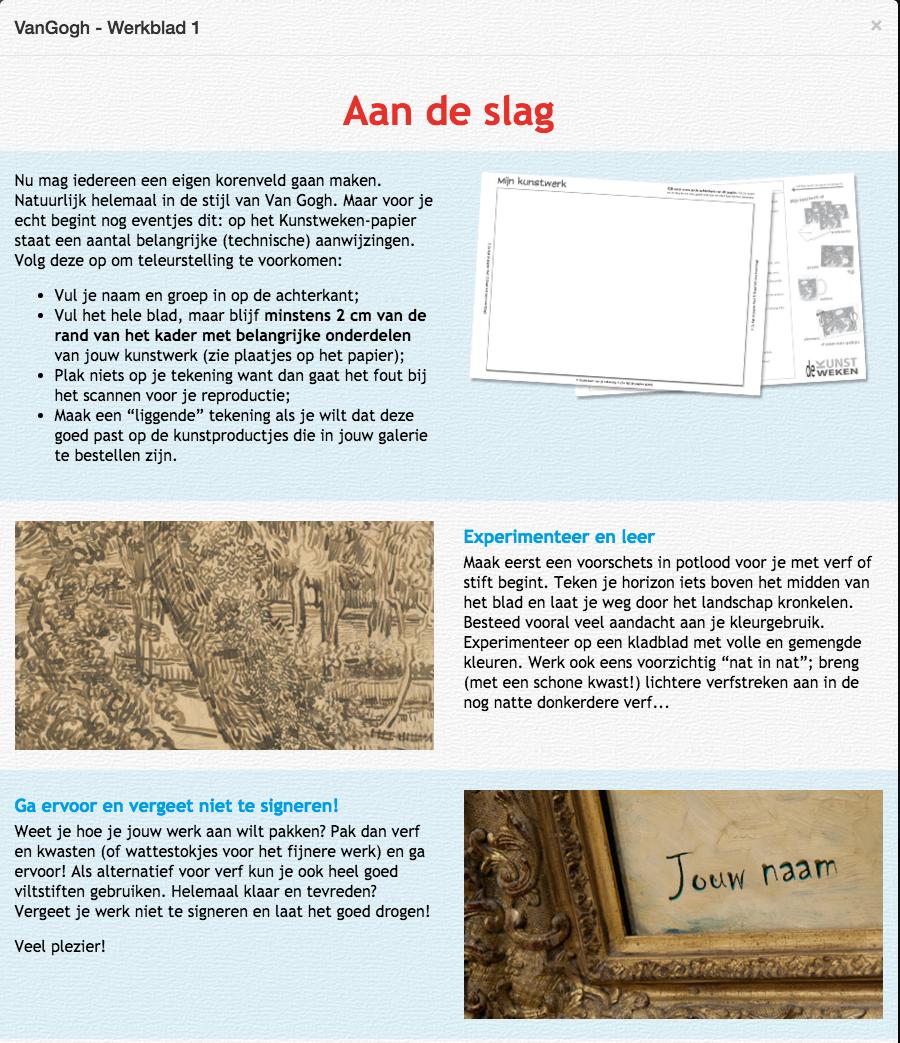Wonderbaar De Kunstweken | kunstproject | Van Gogh | Mondriaan | Picasso | Haring UN-43